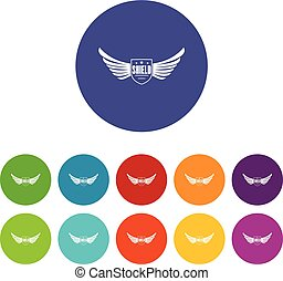 Shield wing icons set vector color