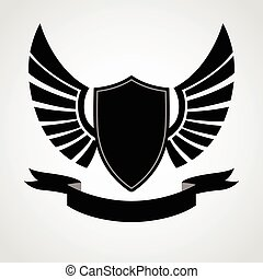 Shield Wings Icon - Shield and wings emblem