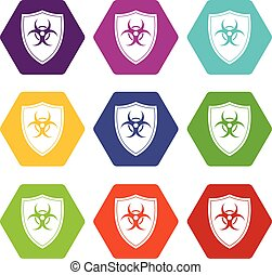 Shield with a biohazard sign icon set color hexahedron