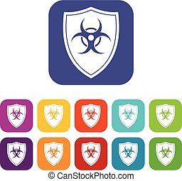 Shield with a biohazard sign icons set