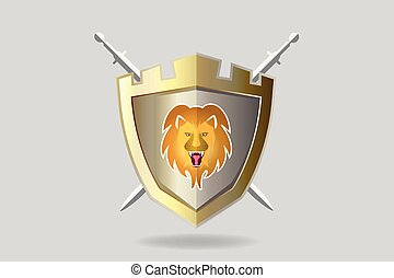 Shield with a lion roaring logo