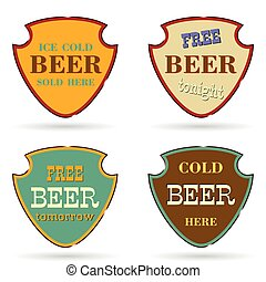 shield with beer commercial vector illustration