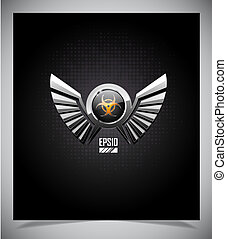 Shield with bio hazard symbol and wings on a dark...