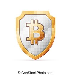 shield with bitcoin sign