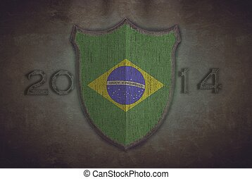Shield with Brazil 2014 flag.
