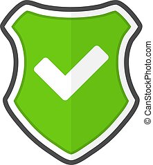 Shield with check in a flat design. Vector illustration