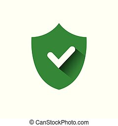 Shield With Check Mark Green Icon Protection And Security Concept