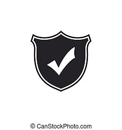 Shield with check mark icon isolated. Flat design. Vector Illustration