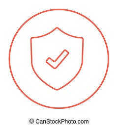Shield with check mark line icon.