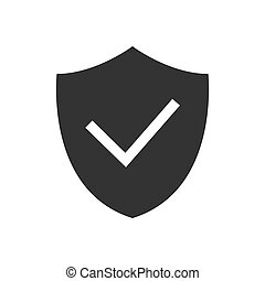 Shield with checkmark black icon on white background