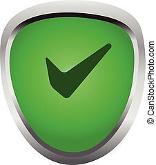 shield with checkmark green and metal color symbol of protection