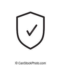 Shield with checkmark symbol . Vector illustration isolated on white background.