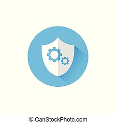 Shield With Cog Wheel Icon Blue Round On White Background Protection And Security Concept
