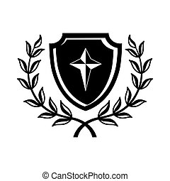 Shield with cross and a laurel wreath icon