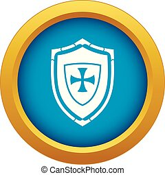 Shield with cross icon blue vector isolated