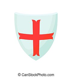 Shield with cross icon, cartoon style