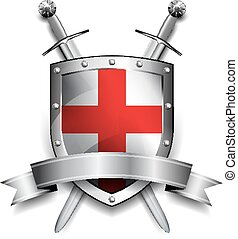Shield with Crossed Swords - Silver shield with Red Cross...