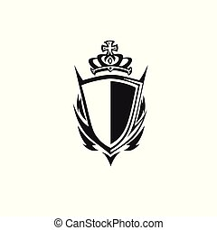 shield with crown vector illustration