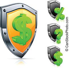 Shield with dollar symbol