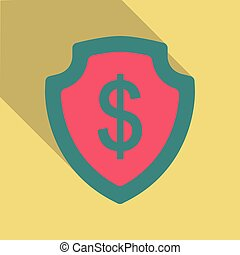 Shield with dollar symbol in flat style with shadow.