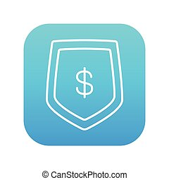 Shield with dollar symbol line icon.
