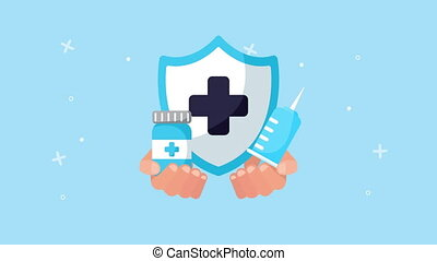 shield with drugs healthcare animation ,4k video animated