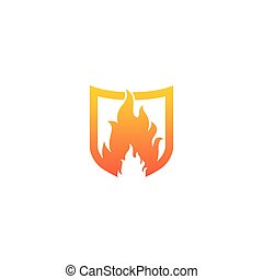 Shield with fire flame symbol logo template vector