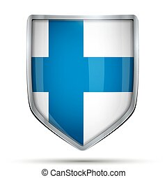 Shield with flag Finland