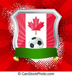Shield with flag of  Canada
