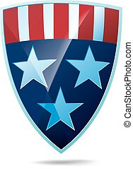 Shield with flag of the USA