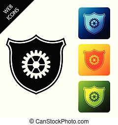 Shield with gear icon isolated. Set icons colorful square buttons. Vector Illustration