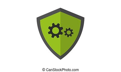 Shield with gears inside HD animation - Shield with gears...