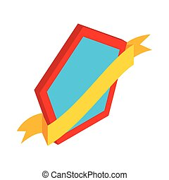 Shield with gold ribbon icon, isometric 3d style