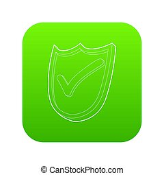 Shield with green tick icon green