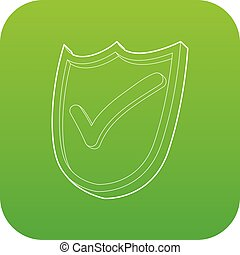 Shield with green tick icon green vector isolated on white ...
