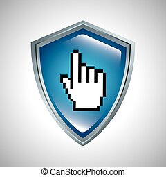 shield with hand cursor icon