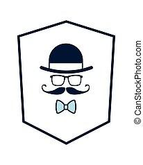 shield with hat glasses mustache bowtie icon