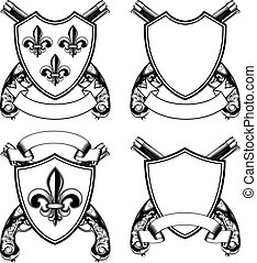 shield with heraldic Lily and crossed old flintlock pistols set