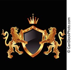 Shield with heraldic lions logo - Vector of shield with...