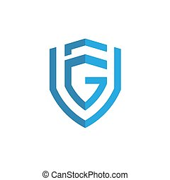 shield with initial letter G F Logo