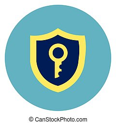 Shield With Key Icon On Round Blue Background Flat Vector...