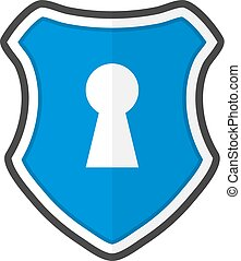 Shield with keyhole in a flat design. Vector illustration