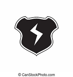Shield with lightning bolt icon, simple style