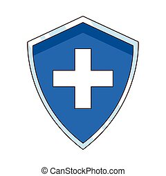 shield with medical cross icon
