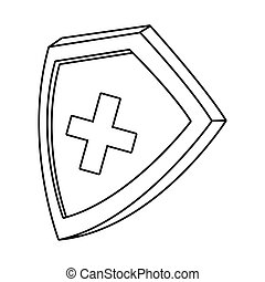 shield with medical cross isolated icon