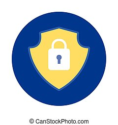 shield with padlock block and flat style