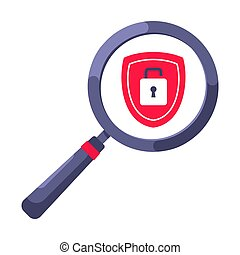 Shield with padlock on it security protection symbol in the magnifier circle glass.