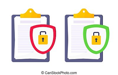 Shield with padlock on it security protection symbol in the magnifier circle glass set.