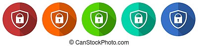 Shield with padlock vector icon set, red, blue, green and orange flat design web buttons isolated on white, vector illustration