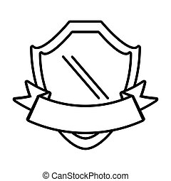 shield with ribbon emblem outline empty